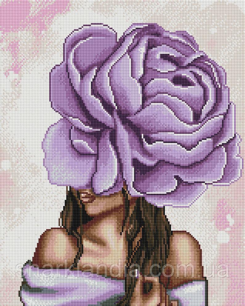 Алмазная мозаика Фиолетовый пион 40*50см Brushme Алмазная вышивка