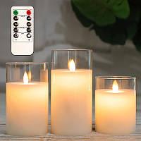 Электронные свечи восковые в стеклянных стаканах с имитацией пламени и пультом управления набор