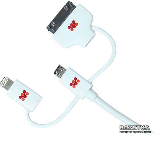Кабель Promate linkMate-Trio USB-Lightning/30-pin/microUSB 1 м White