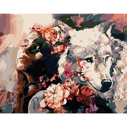 Картина по Номерам Девушка с волком 40х50см Strateg, фото 2