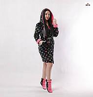 Халат махровий жіночий c чобітками з капюшоном короткий чорний р. 42-52