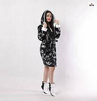 Махровий жіночий халат з капюшоном c чобітками короткий чорний панда р. 42-52