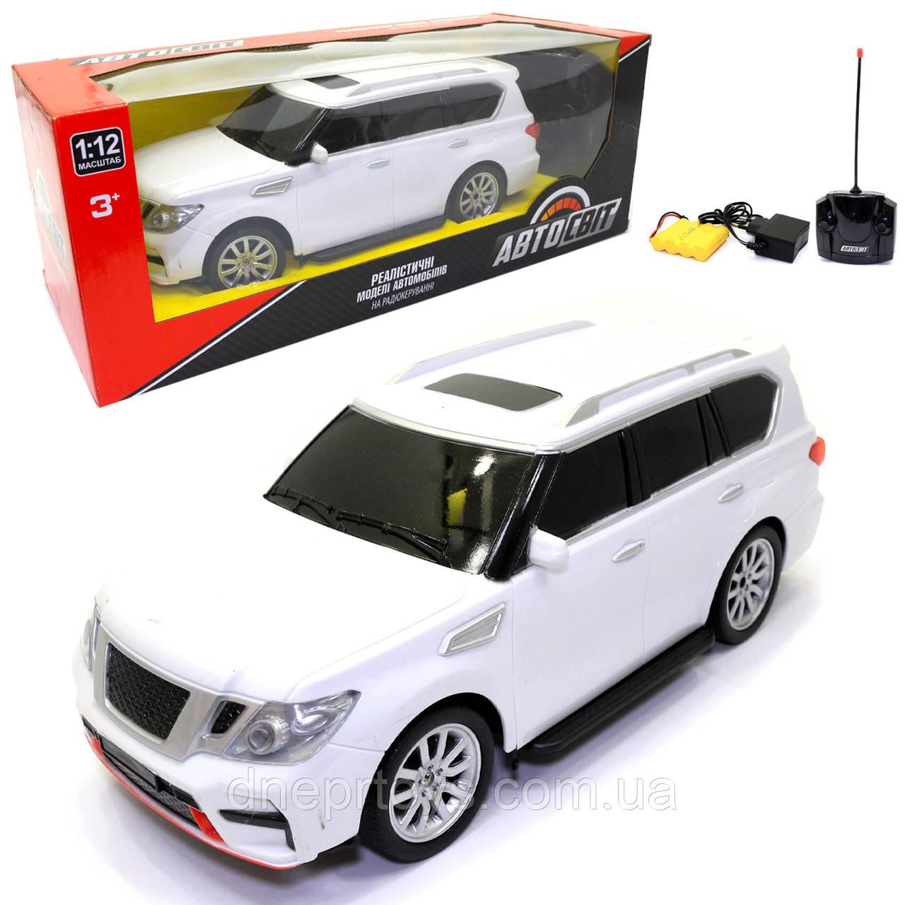 Игрушечная машинка на радиоуправлении АвтоСвіт «Nissan Patrol» джип белый, свет, звук 31*12*13 см (AS-2363)