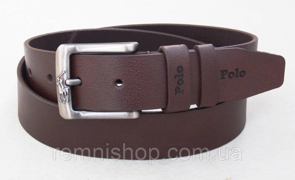 Кожаный мужской ремень Polo коричневый