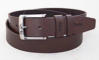 Кожаный мужской ремень Polo коричневый, фото 1