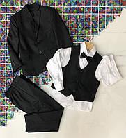 Дитячий шкільний костюм трійка для хлопчика 5-8 років,білий з чорним