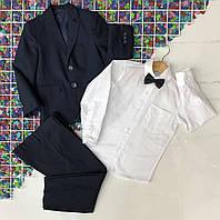 Дитячий шкільний костюм трійка для хлопчика 3-7 років,білий з синім
