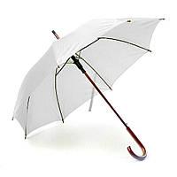 Зонт-трость полуавтомат с деревянной ручкой белый, серый, желтый, зеленый, синий, красный, бордовый, черный
