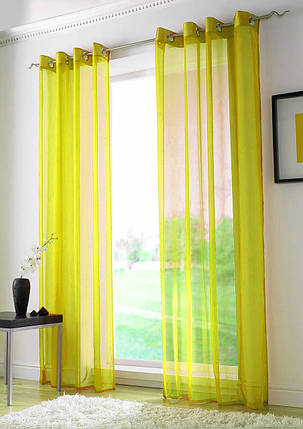 Декоративные шторки из шифона, на люверсах (Желтые), фото 2