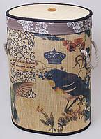 """Корзина для белья """"Bamboo Tube"""" овальная, """"Magic Birds"""", складная, высота 55см"""