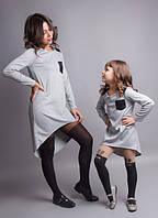 Комплект одинаковых платьев мама и дочка с кармашком на груди