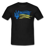 Футболка черная с гербом Украины