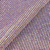 Стразовое термополотно Цвет Crystal АВ (ss6) Цена за отрезок 1*24см, фото 1