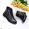 Черные кожаные модельные женские ботинки натуральная кожа на флисе, фото 9