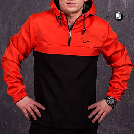 Размеры S-3XL   Мужская куртка анорак Nike Orange Оранжевый, фото 2