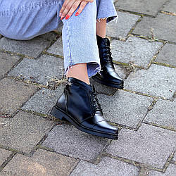Черные кожаные модельные женские ботинки натуральная кожа на флисе