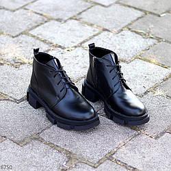 Крутые черные кожаные женские ботинки натуральная кожа на флисе