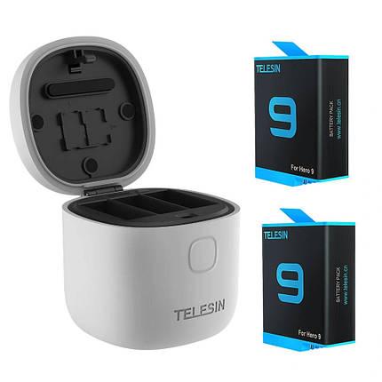 Зарядка с двумя аккумуляторами GoPro HERO 9 / HERO 10  IP54 картридер Telesin GP-BTR-905-GY, фото 2