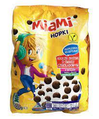 Шоколадные шарики злаковые Miami Hopki, 500г, Польша, сухие завтраки, хлопья, хопки, быстрого приготовления