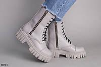 Ботинки демисезонные женские серые кожаные на шнуровке и двух молниях, фото 1