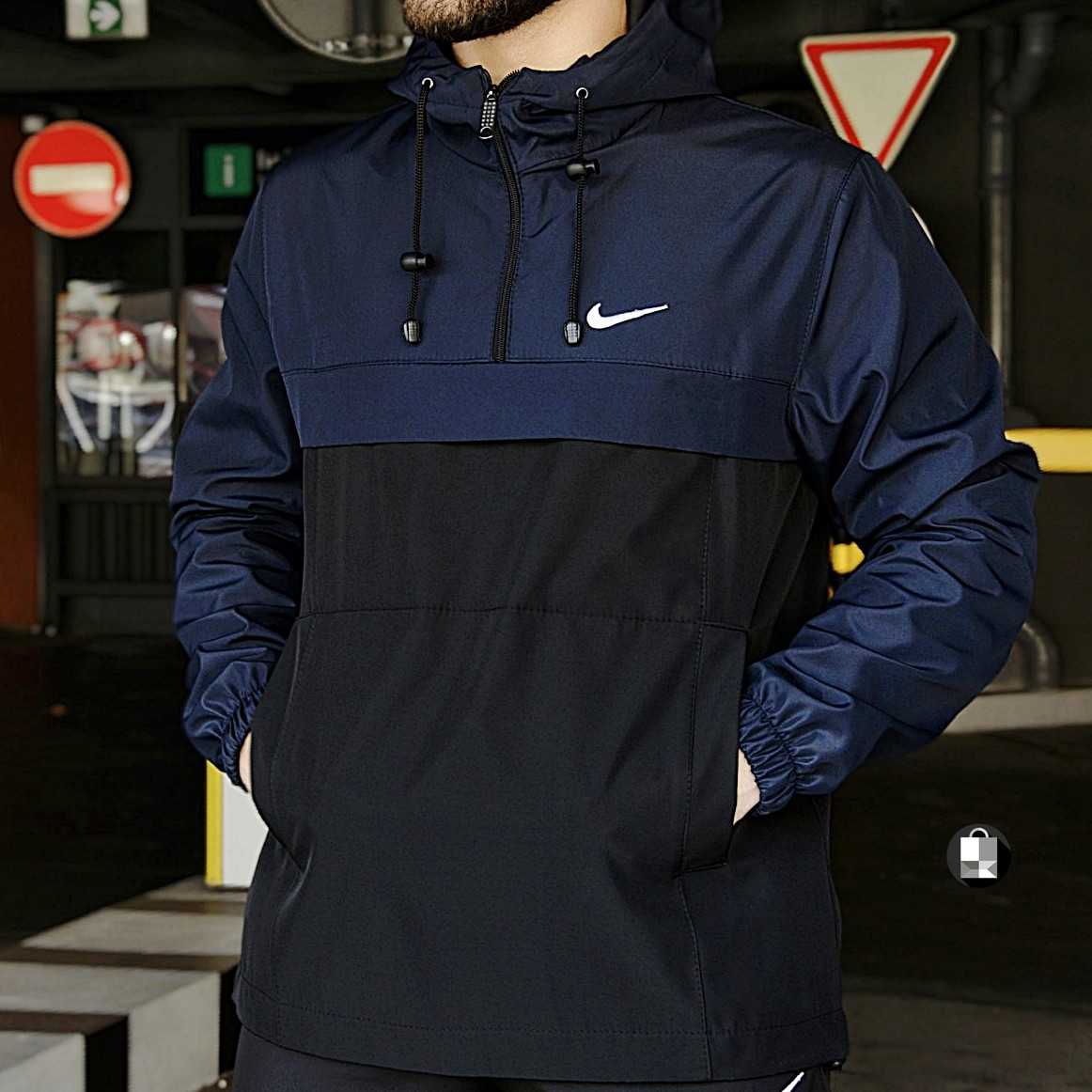 Размеры S-3XL | Мужская куртка анорак Nike Blue Синий