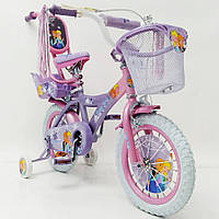 Детский двухколесный велосипед для девочки ICE FROZEN Ледянное Сердце Анна и Эльза 19PS01-14 на 14 дюймов