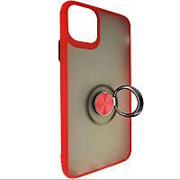 Чохол з кільцем-підставкою Totu Copy Ring Case iPhone 11 Pro Max Red+Black, фото 1