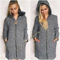 Женское твидовое пальто на змейке