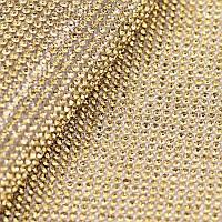 Стразовая ткань термоклеевая.Цвет Lt.Topaz(ss6) 1 отрезок 1*24см, фото 1