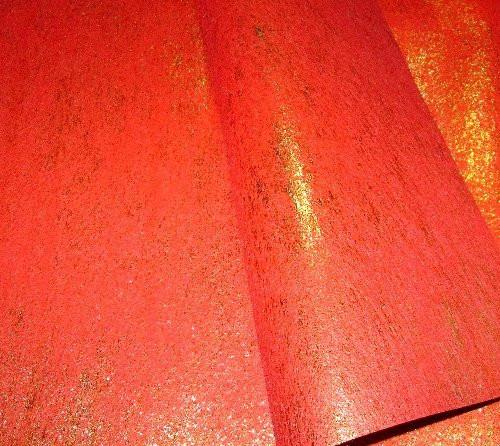 Упаковочный флизелин персиково-оранжевый с золотом