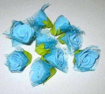 Голівки троянд з фатином, 2 см, блакитні