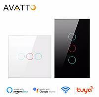 Інтелектуальний вимикач освітлення AVATTO Tuya WiFi зі скляною панеллю Luxuray, сенсорний перемикач