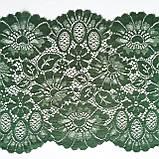 Стрейчевое (эластичное) кружево темно-зеленого цвета шириной 23 см., фото 3