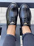 Жіночі туфлі чорні на шнурковке еко шкіра, фото 2