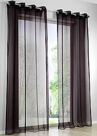 Декоративные шторки из шифона, на люверсах (Черные)