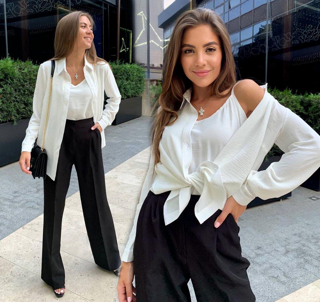 Жіночий комплект-двійка сорочка + майка 556 в різних кольорах