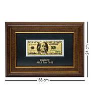 """Панно """"Банкнота 100 USD (доллар) США"""" золото 36*24 см Гранд Презент ГП60082"""