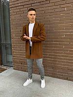 Мужское пальто молодежное (коричневое) plt16 стильная одежда на осень