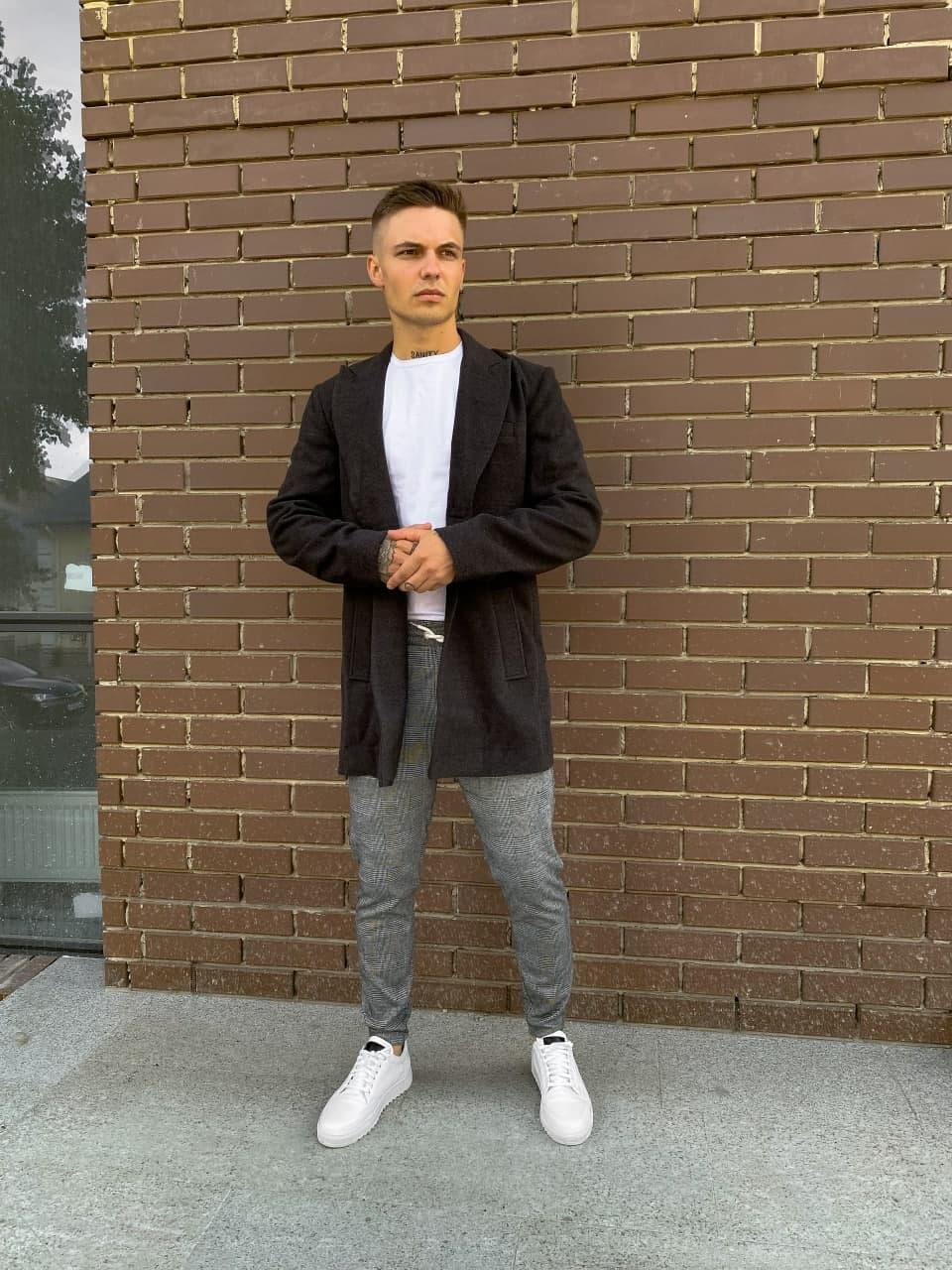 Мужское пальто молодежное (темно-серое) plt18 удобное одежда на осень