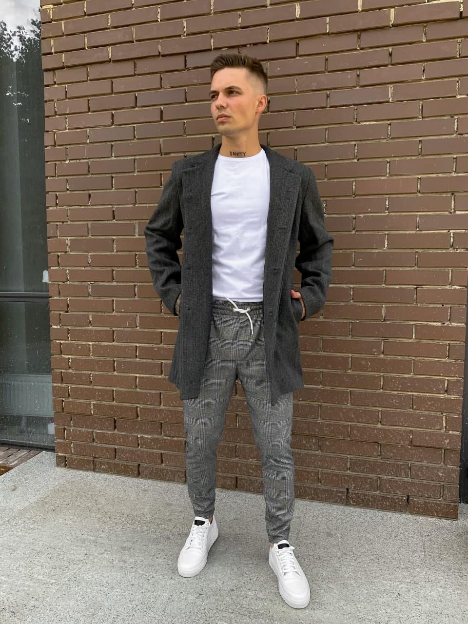 Мужское пальто молодежное (серое) plt13 крутая одежда на осень