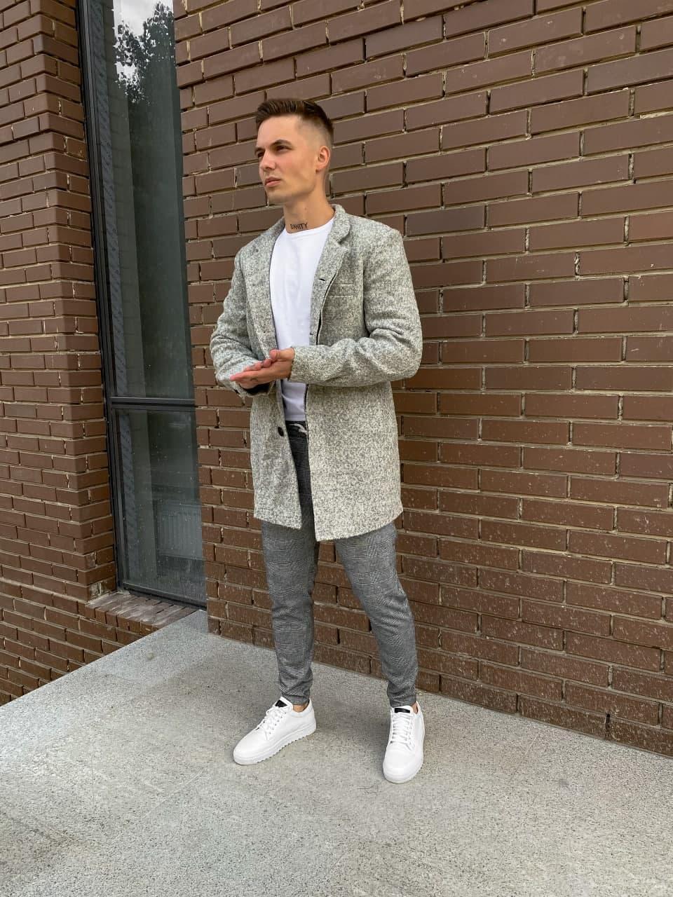 Мужское пальто качественное (серое) plt21 крутая одежда на осень