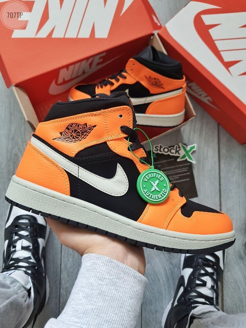 Мужские кроссовки Nike Air Jordan 1 Hight (оранжевые) 707TP крутые высокие кроссы