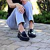 Молодежные черные кожаные женские туфли натуральная кожа низкий ход 36-23 / 38-24,5 / 40-25,5см, фото 3