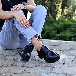 Черные кожаные женские туфли натуральная кожа на шнуровке низкий ход
