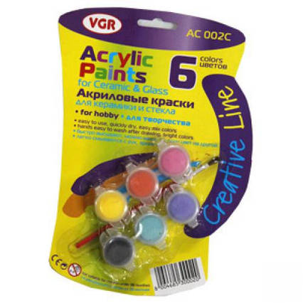 КРАСКИ АКРИЛ 6ЦВ.3МЛ АС002С VGR ACRYLIC PAINTS