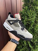 Мужские кроссовки Nike Air Jordan 4 Retro (серые) В10651 спортивные крутые кроссы
