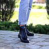 Модельные кожаные черные женские ботинки натуральная кожа на флисе шнуровка, фото 3