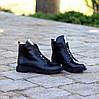 Модельные кожаные черные женские ботинки натуральная кожа на флисе шнуровка, фото 2