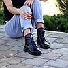 Модельные кожаные черные женские ботинки натуральная кожа на флисе шнуровка, фото 4