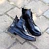 Модельные кожаные черные женские ботинки натуральная кожа на флисе шнуровка, фото 6